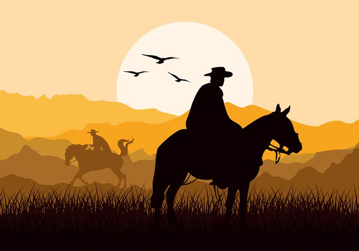 gaucho-sunset-silhouette-free-vector